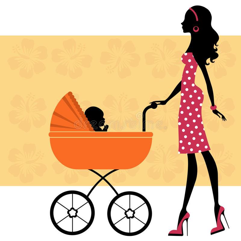 Download Beautiful Mom With A Baby In Baby Carriage Stock Vector - Illustration: 25334494