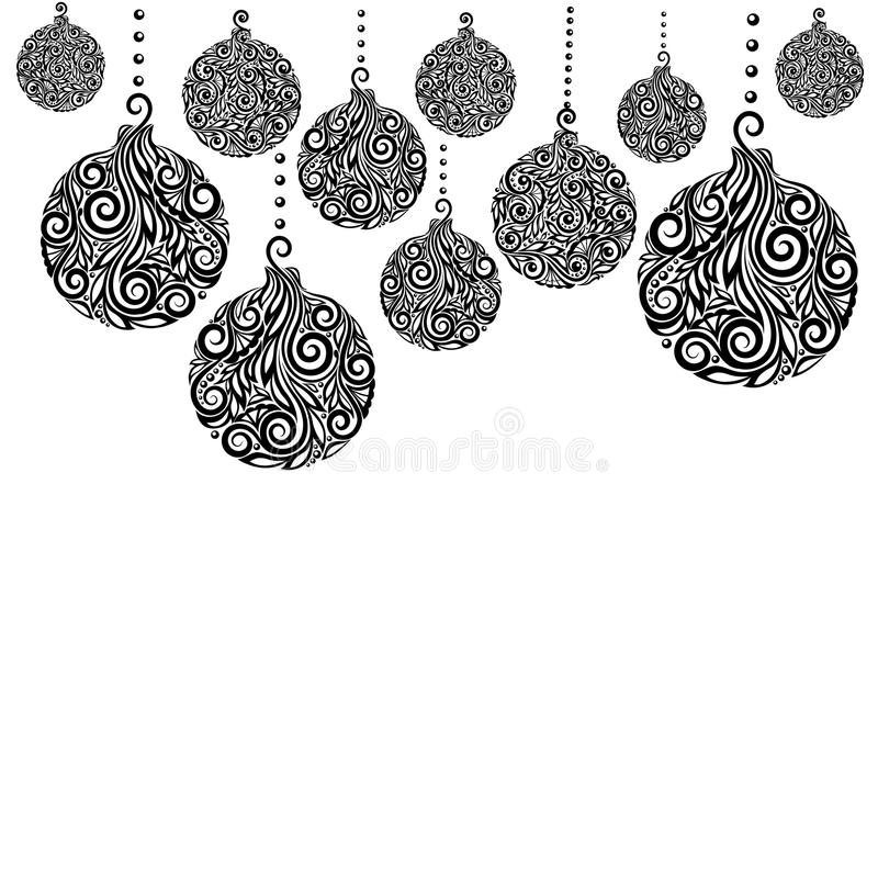 Free Beautiful Monochrome Black And White Christmas Background With Christmas Balls Hanging . Stock Photography - 47919092