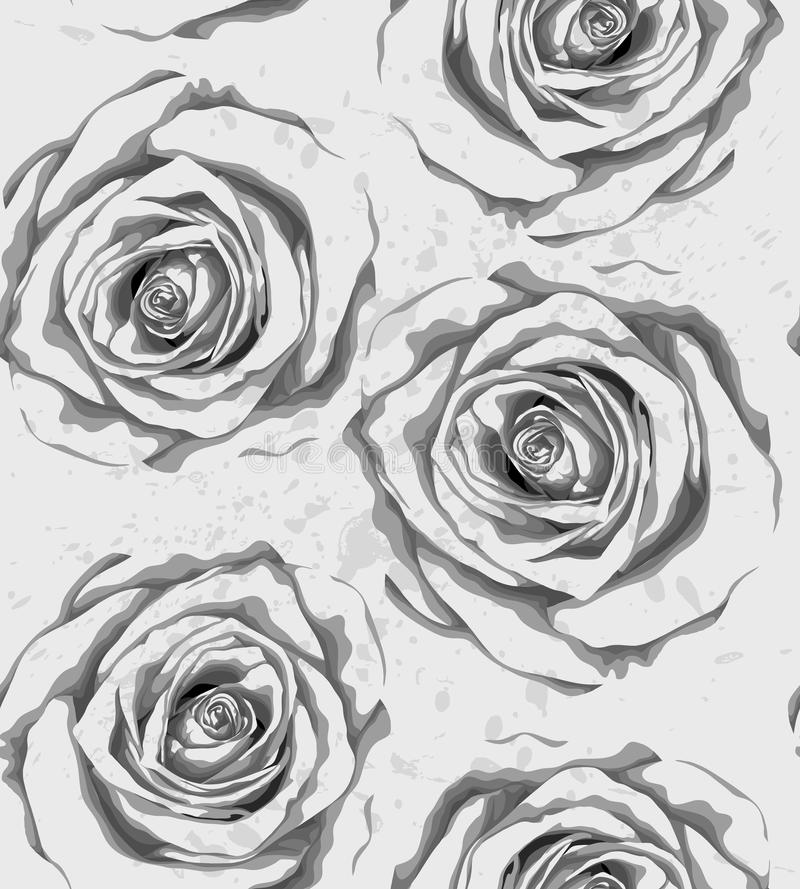 Free Beautiful Monochrome, Black And White Vertical Seamless Background With Gray Roses, Sprays, Drops. Royalty Free Stock Photography - 42508267