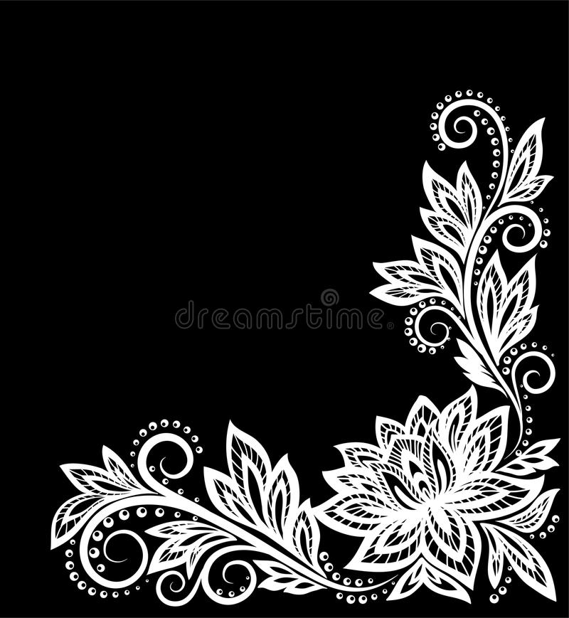 Beautiful monochrome black and white flowers and leaves isolated. vector illustration