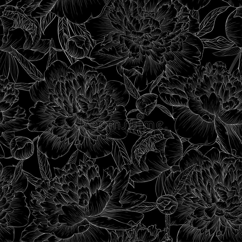Beautiful monochrome black and white seamless background. peonies with leaves and bud. For greeting cards and invitations of wedding, birthday, Valentine's Day stock illustration