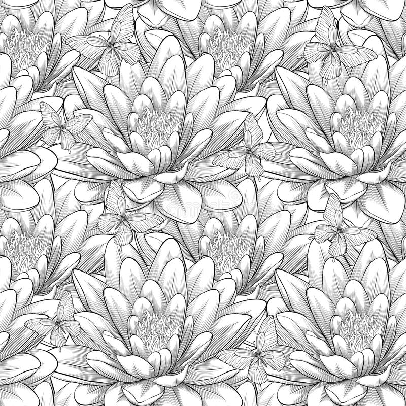 Beautiful monochrome, black and white seamless pattern with lotus flowers. Hand-drawn contour lines and strokes. vector illustration