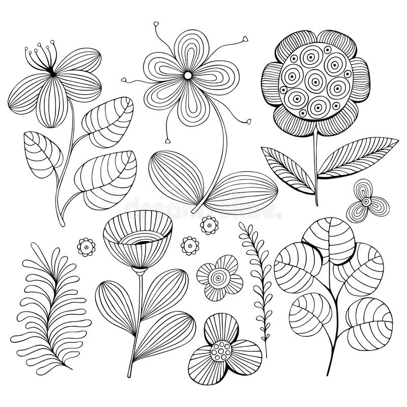 Beautiful monochrome Flowers set with bird. Vector Illustration. royalty free stock photos