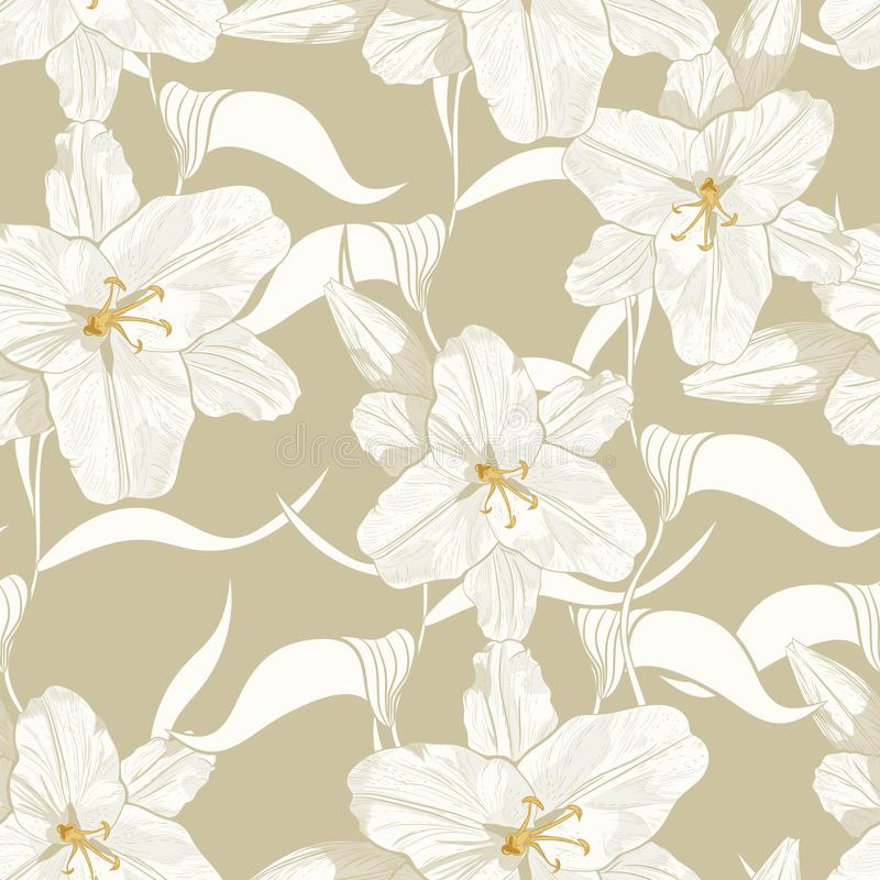 Beautiful monochrome, light green outline seamless pattern with lilies and leaves. vector illustration