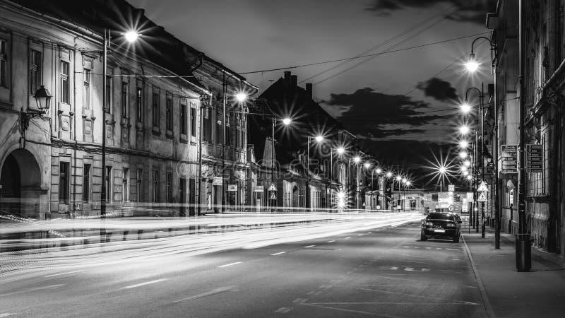 Beautiful monochrome night street in Sibiu, Romania stock photos