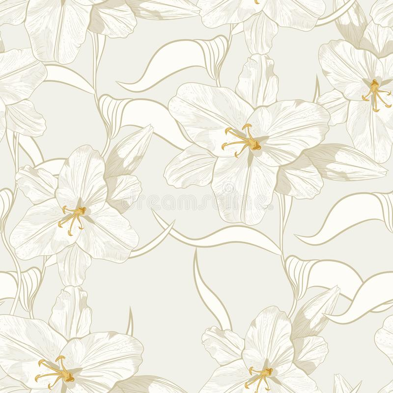 Beautiful monochrome, sepia outline seamless pattern with lilies and leaves. royalty free illustration
