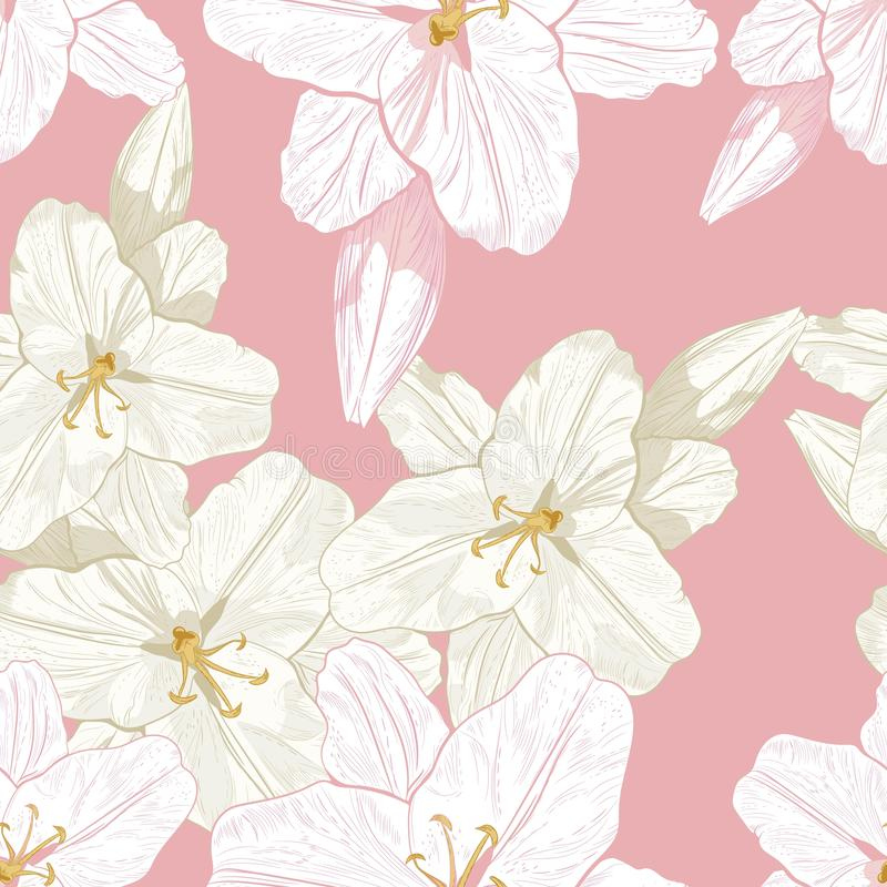 Beautiful monochrome, sepia and pink outline seamless pattern with lilies. royalty free illustration
