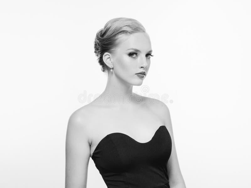 Beautiful monochrome woman beauty portrait in classic style isolated on white monochrome. Studio shot stock photos