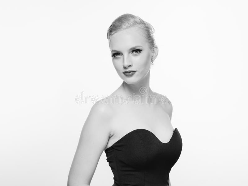 Beautiful monochrome woman beauty portrait in classic style isolated on white monochrome. Studio shot royalty free stock images