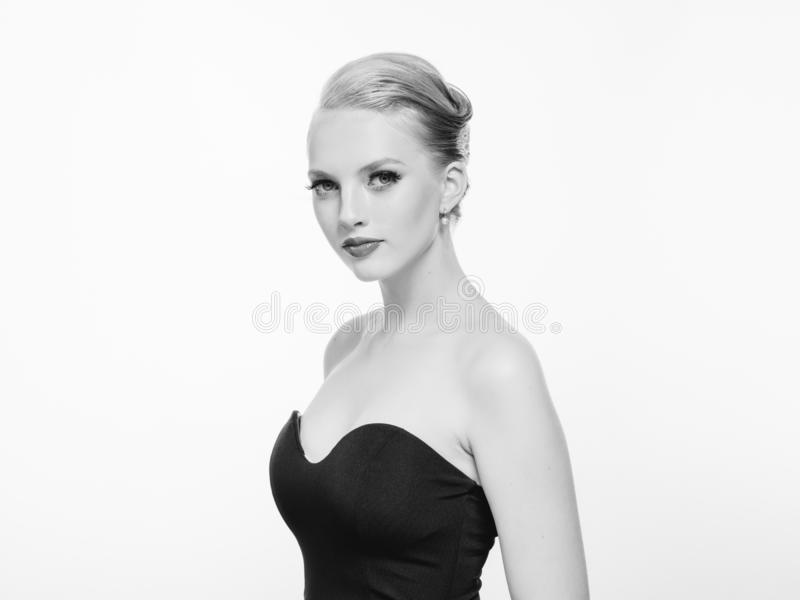 Beautiful monochrome woman beauty portrait in classic style on white monochrome. Studio shot stock images