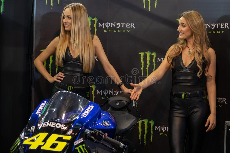 Beautiful Monster Energy girls pose with the motorcycle at Belgrade Car and Motor Show. Belgrade / Serbia - March 30, 2019: Beautiful Monster Energy girls pose stock photo
