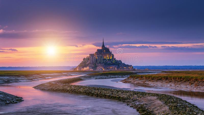 Beautiful Mont Saint Michel cathedral on the island, Normandy, Northern France, Europe.  royalty free stock image
