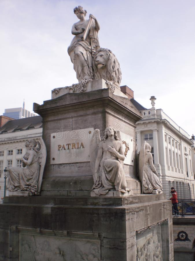 Beautiful Monument To The Belgian Homeland In Brussels. stock images