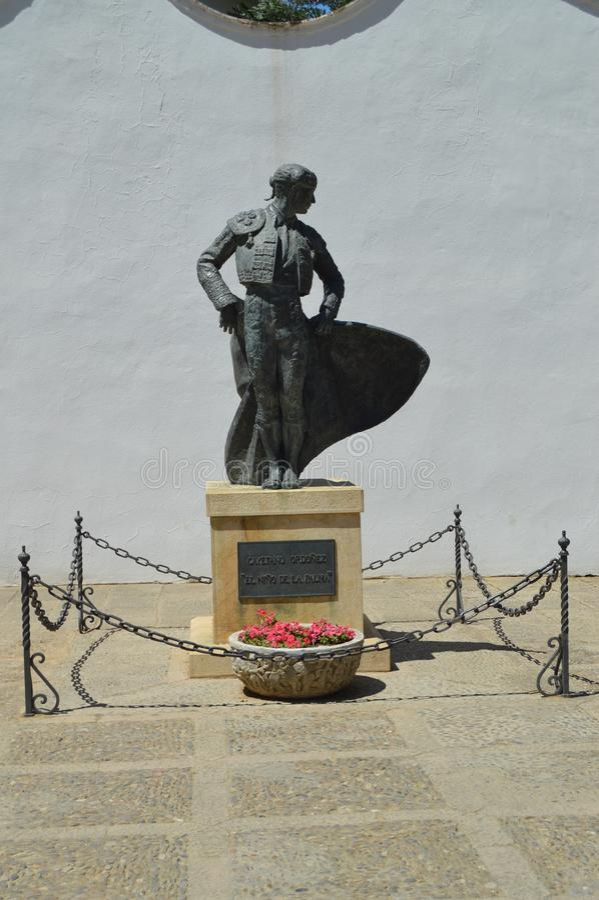 Beautiful Monument To Cayetano Ordonez `The Boy Of La Palma` In The Bullring Of Ronda. stock image