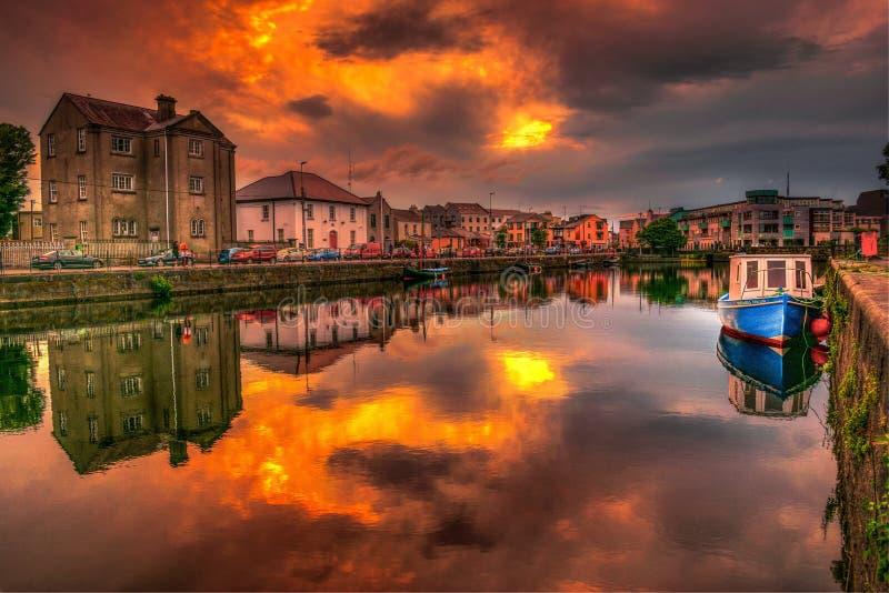 Beautiful moody dramatic sunset at Claddagh, Galway, Ireland stock photo