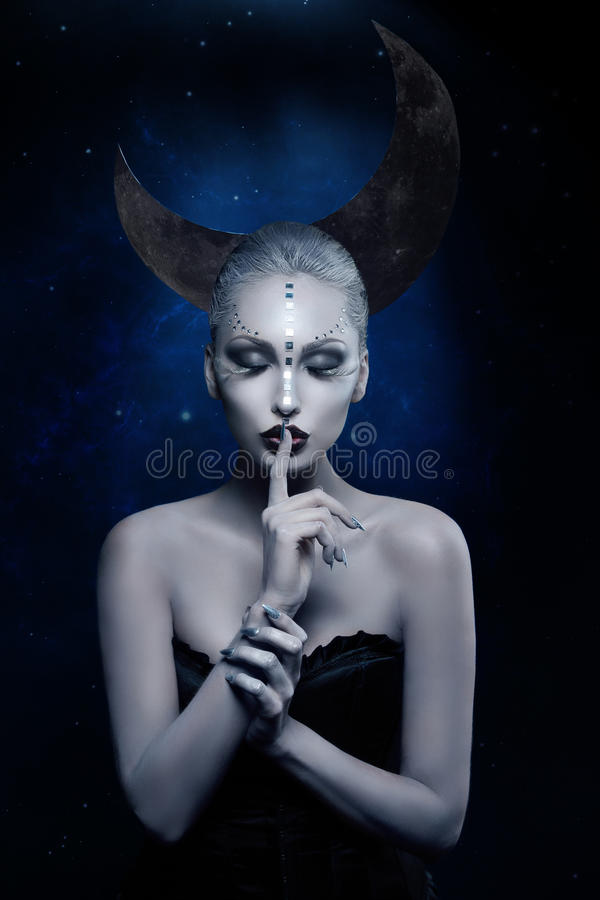 Beautiful moon girl royalty free stock photo