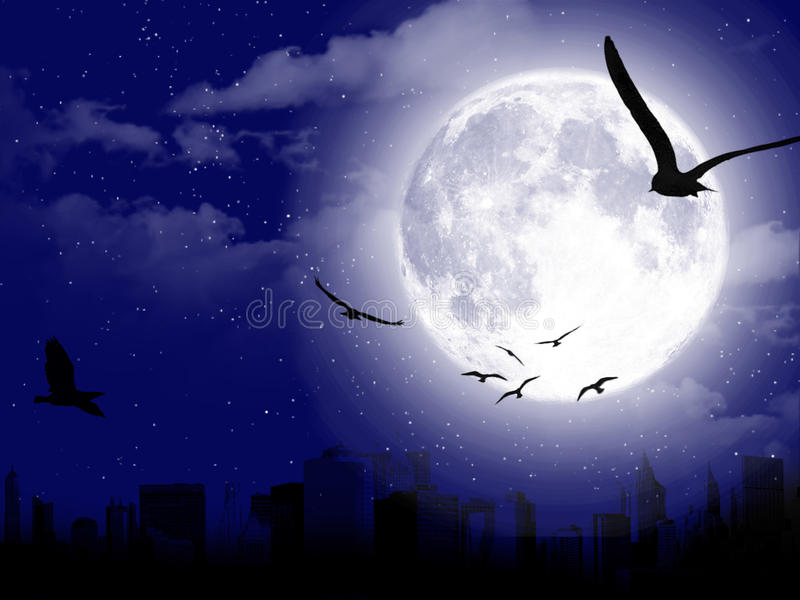 Beautiful moon landscape with city silhouette royalty free stock photography