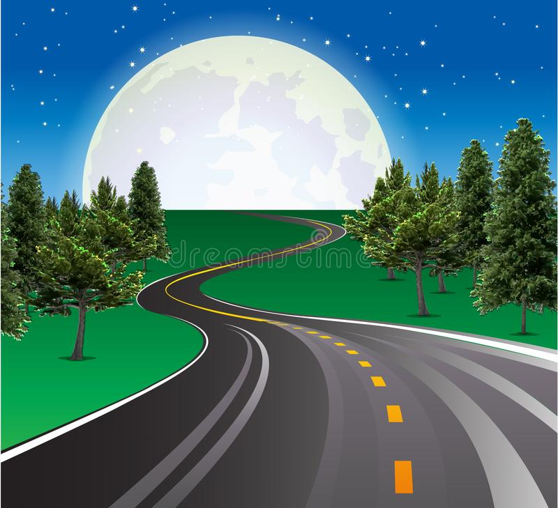 Landscape road Beautiful moon rising, highways road in rural scene stock illustration