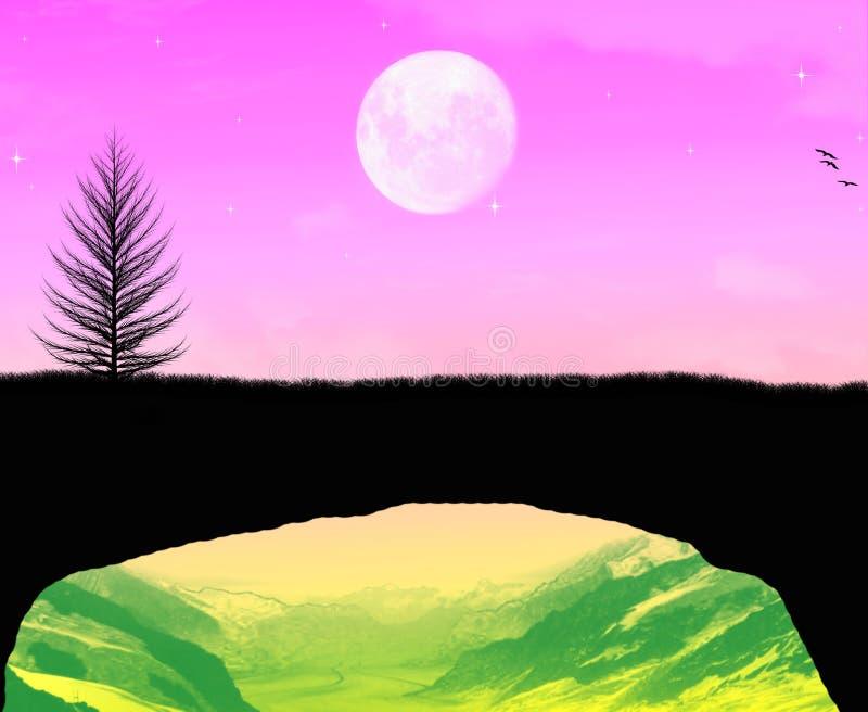 A beautiful moonlight time stock photo
