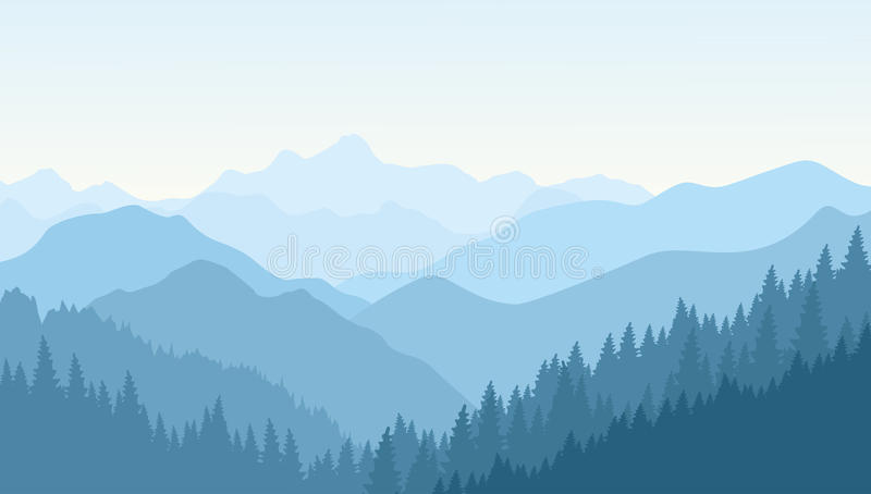 Beautiful morning in the blue mountains. stock illustration