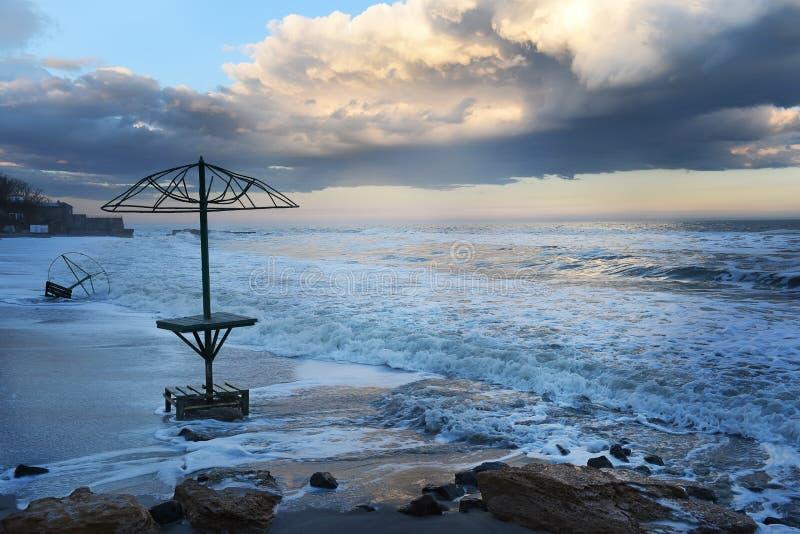 Beautiful morning on a deserted beach. Resort city in off season. Ukraine. Odessa. Black Sea. stock photo