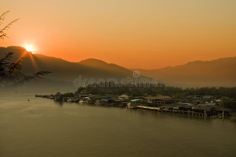 Beautiful morning fishing boats village at Thailand. Concept take photo beautiful morning fishing boats village at Thailand stock photography