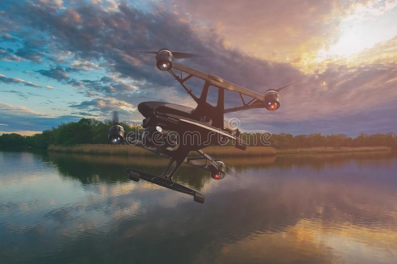 A drone flying over lake at sunset with colourful sky full of clouds royalty free stock image