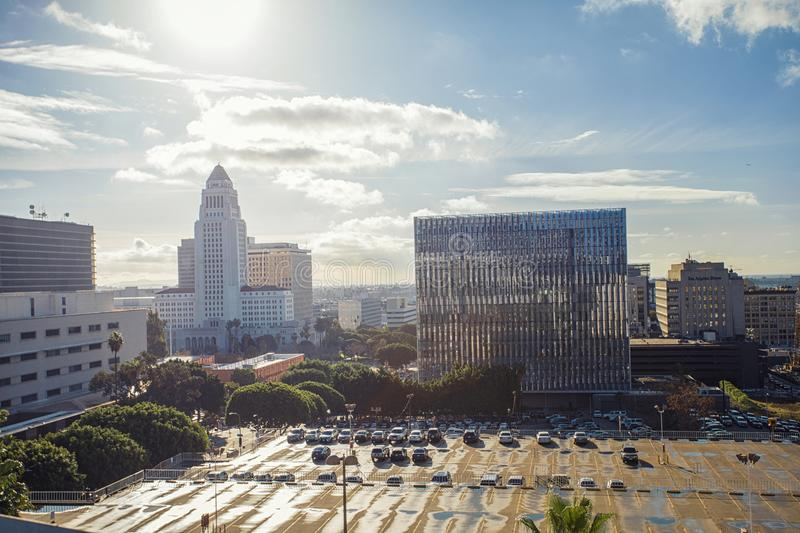 Beautiful morning panorama of downtown Los Angeles overlooking City Hall, Court and LA times buildings. stock photo