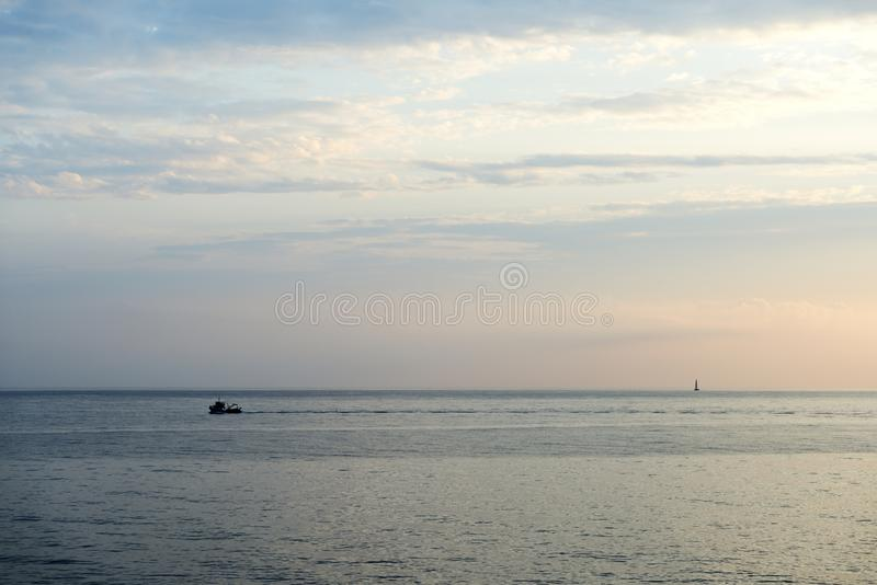 Beautiful morning seascape in Sicily. Italy. Beautiful morning seascape in Sicily. Cefalu, Italy stock images