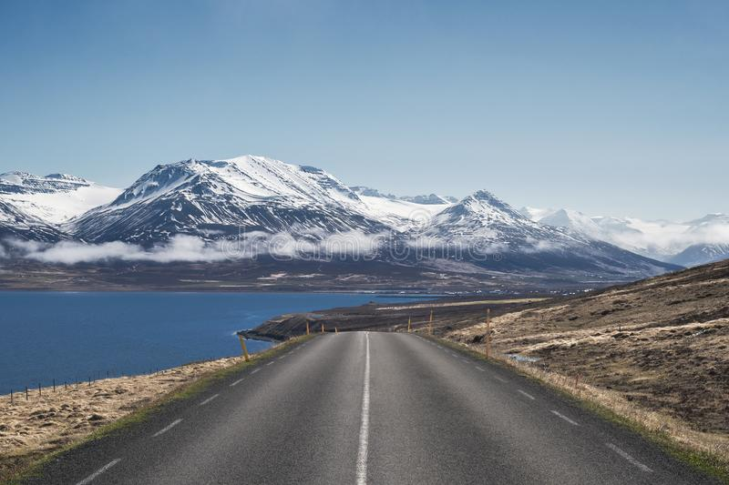 Beautiful morning view down Route 82 towards Dalvik in North Iceland stock images