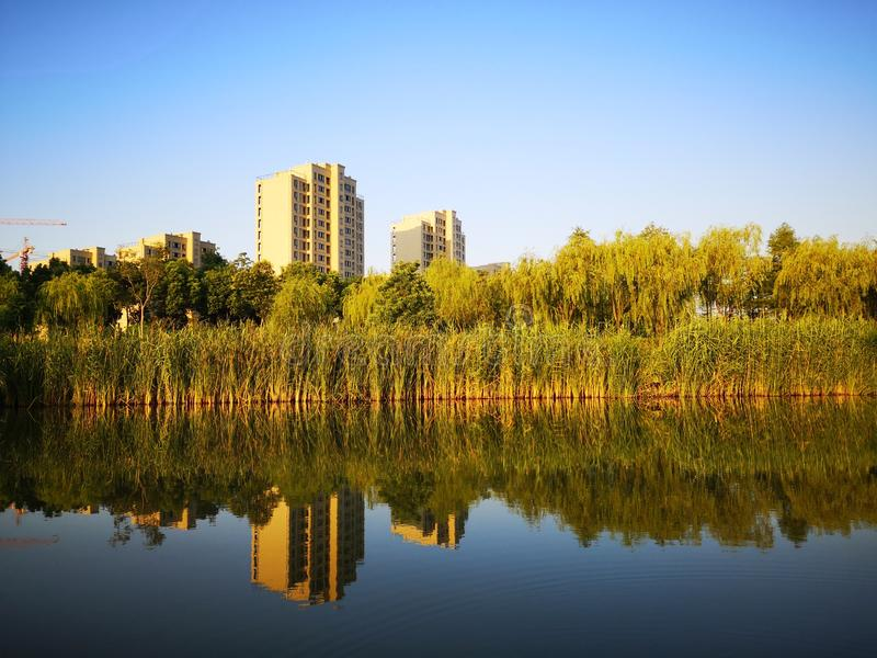 The morning view of wuhu City stock photography