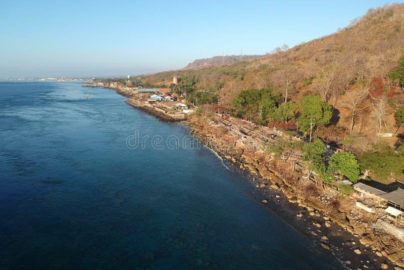Beautiful Morning At Watudodol Beach Banyuwangi Indonesia. Enjoy the sunrise and landscape near the beach stock photo
