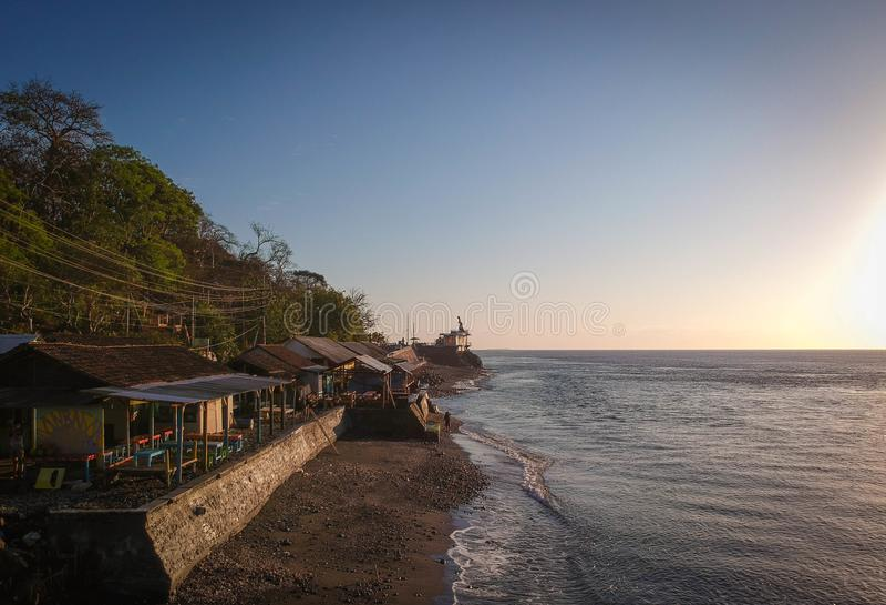 Beautiful Morning At Watudodol Beach Banyuwangi Indonesia. Enjoy the sunrise and landscape near the beach stock photography