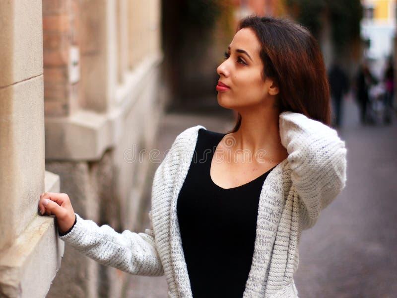 Beautiful Moroccan Girl in Padua. royalty free stock photography