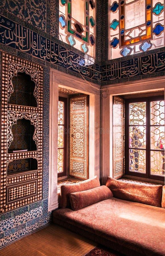 Beautiful Mosaic Interior of Topkapi Palace. Istanbul, Turkey. royalty free stock images