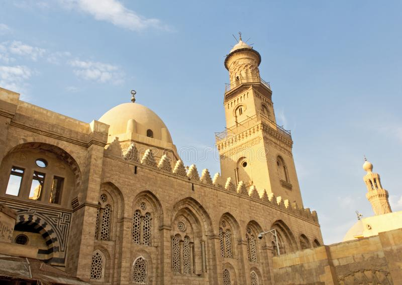 Moez street architecture. A beautiful mosque in al moez street in old cairo , Egypt royalty free stock photos