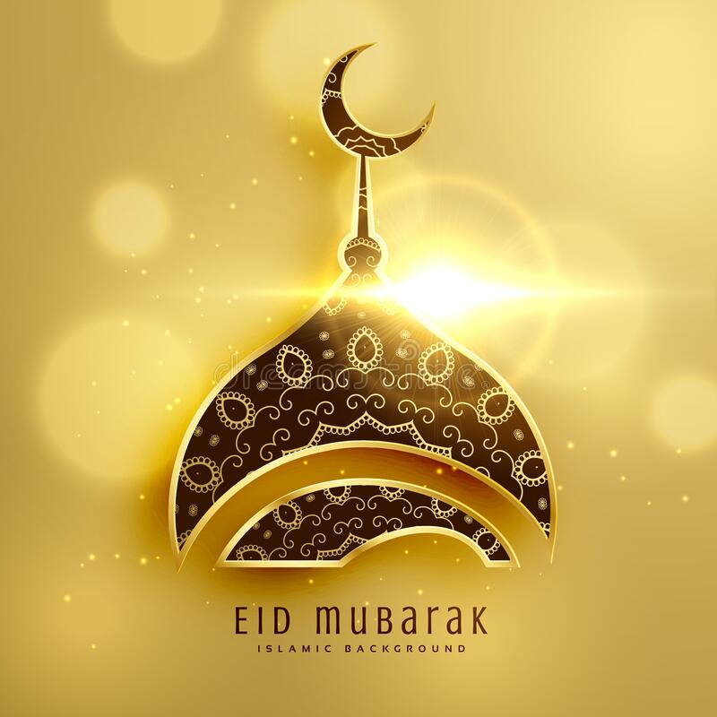 Free Beautiful Mosque Design For Islamic Eid Festival With Golden Decoration Royalty Free Stock Images - 182050299