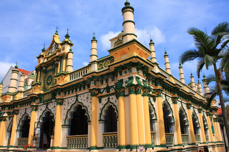 A Beautiful Mosque in Singapore. A very beautiful mosque located at Dunlop Street, Singapore royalty free stock image