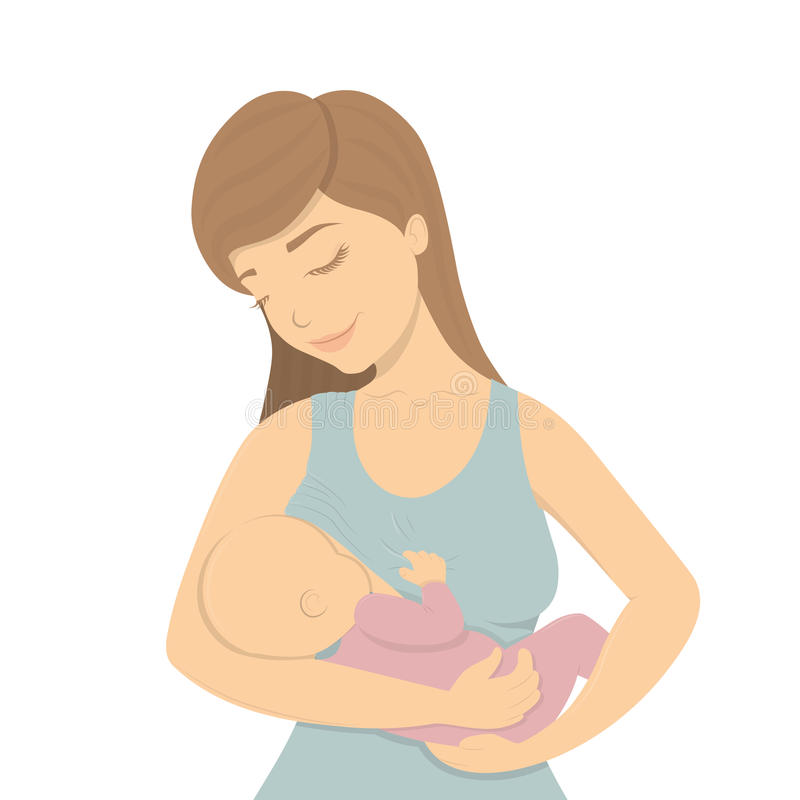 Beautiful mother breastfeeding her baby. Lactation. Beautiful mother breastfeeding her baby child holding him in her caring hands. Cartoon lactation vector royalty free illustration