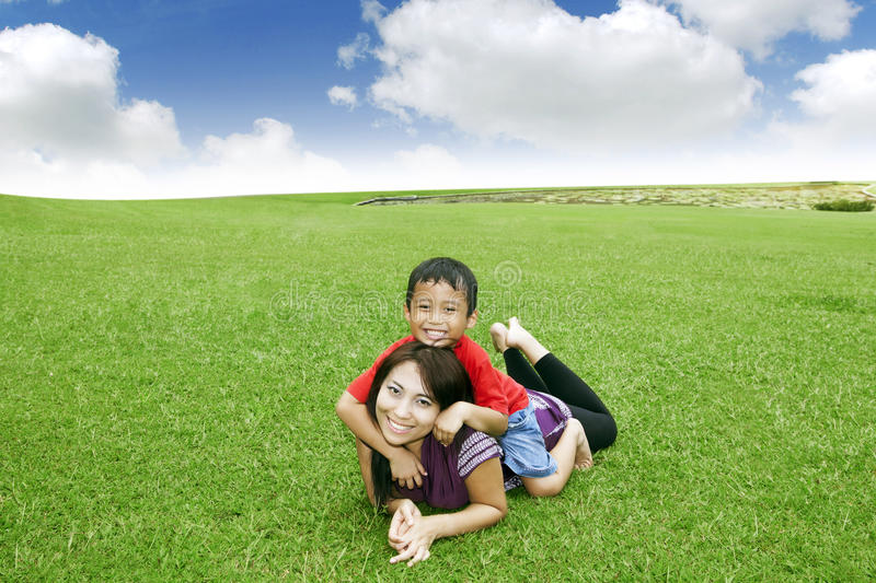 Beautiful mother and Cute Son royalty free stock photo
