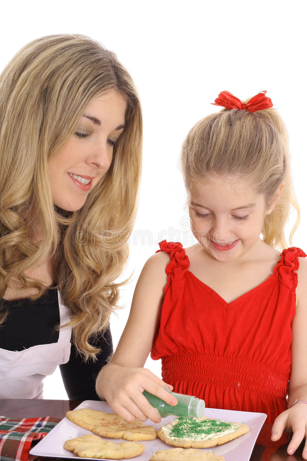 Beautiful Mother And Daughter With Cookies Stock Photos