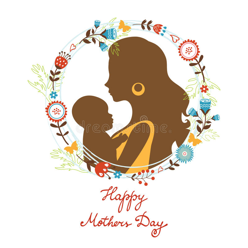 Beautiful mother with her baby silhouettes with royalty free illustration