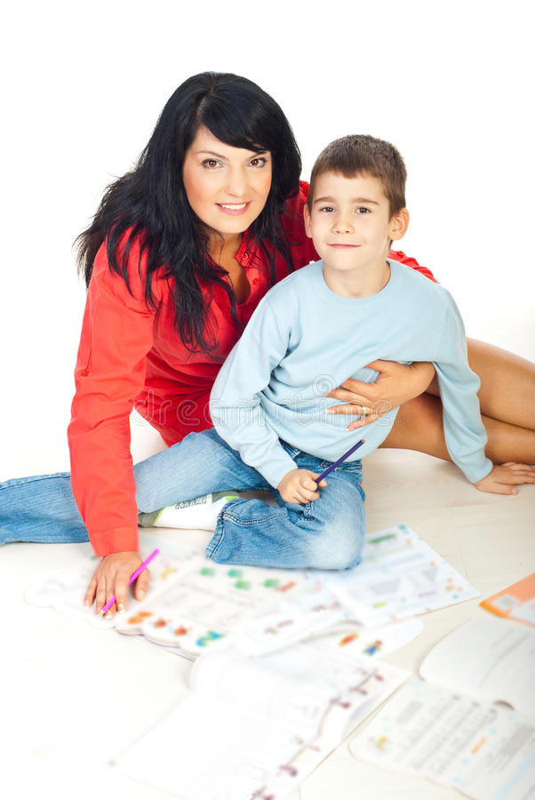Download Beautiful Mother And Son With Books Stock Photo - Image: 16300980