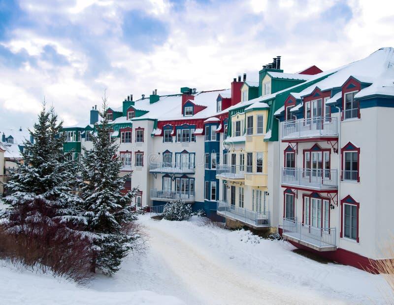Beautiful Mount-Tremblant village. In ski resort in winter view Canada stock photo
