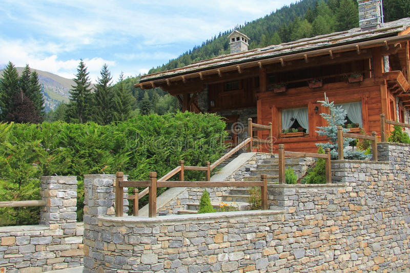 Download Beautiful mountain chalet stock image. Image of garden - 27454469