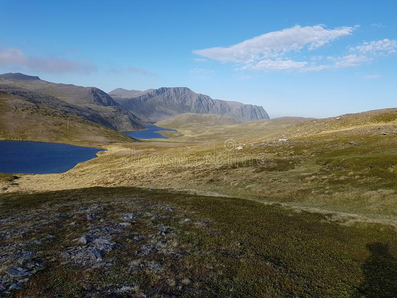 Beautiful mountain and fresh water lake view on mageroya, north cape county stock images