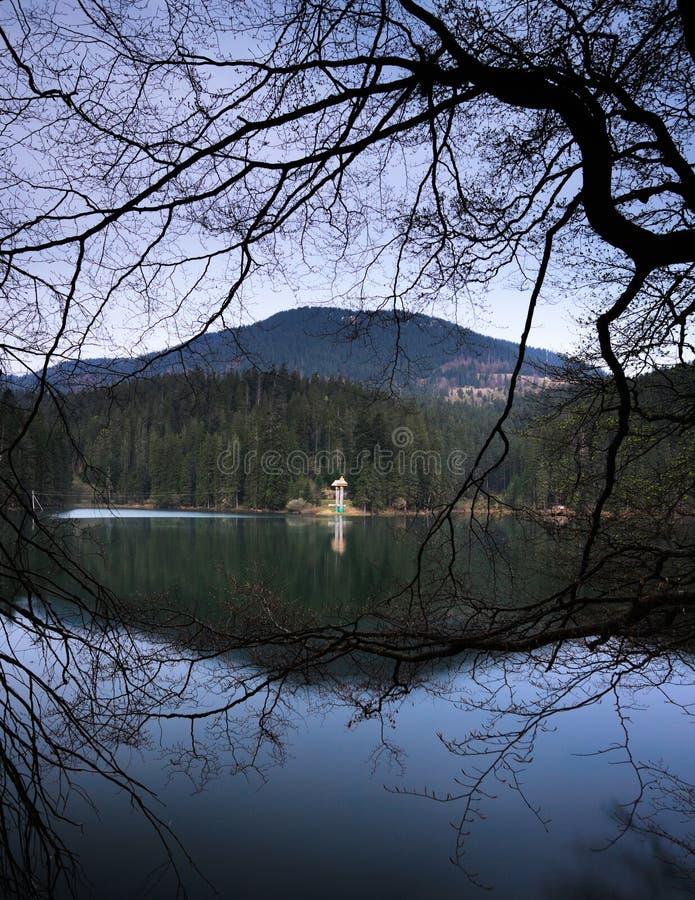 Beautiful mountain lake Sinevir. Frame. Beautiful spring landscape in the mountain lake Sinevir. Pearl of Carpatian stock photo