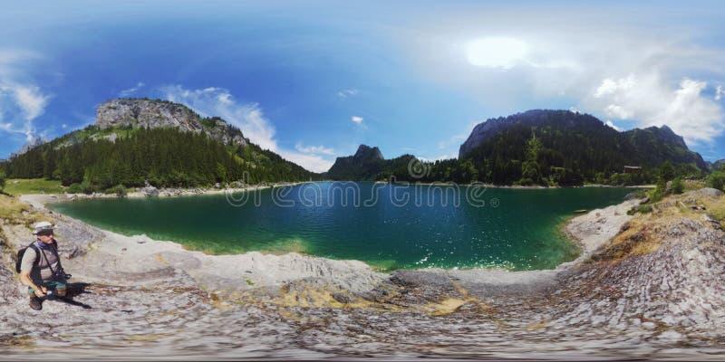 Beautiful mountain lake summer landscape at Switzerland. 360 panorama stock images