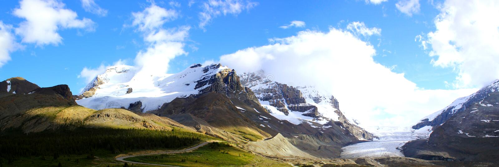 Beautiful mountain landscape at Athabasca Galcier / Columbia Icefield in Alberta / British Columbia - Canada royalty free stock photo