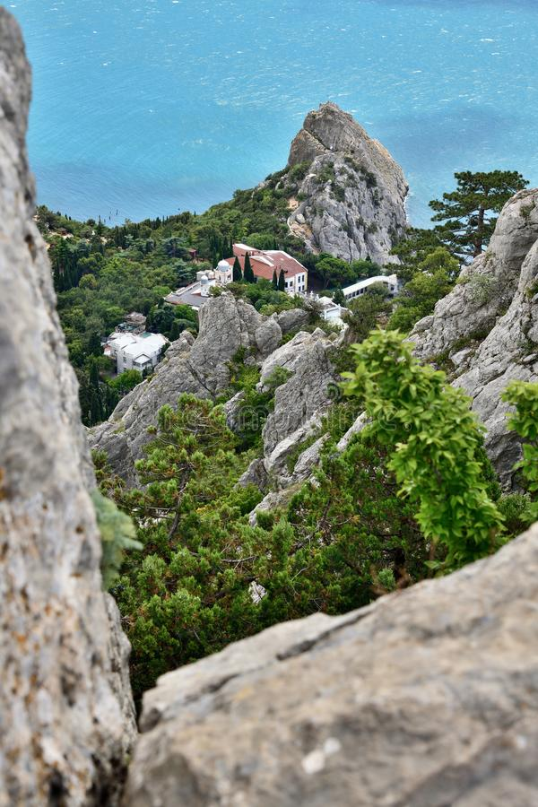Beautiful mountain landscape with cliff Divo in Crimea royalty free stock photography